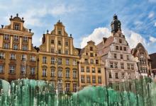 Wroclaw, fontein op het stadsplein