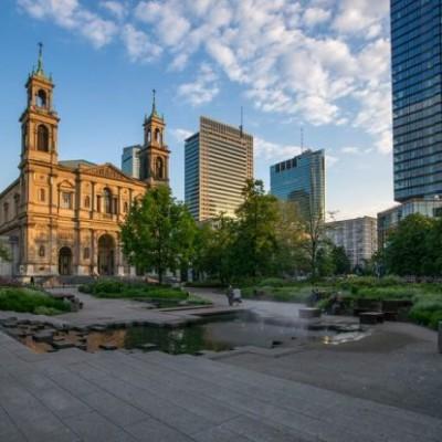 Het Grzybowski Plein in Warschau
