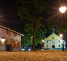 Lodz, houten architectuur Skansen